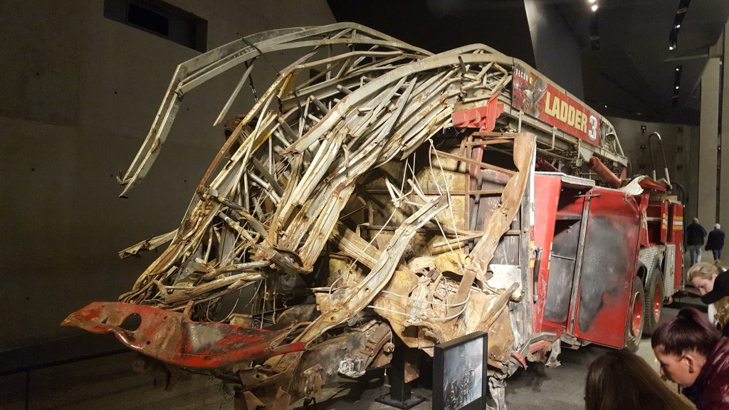A damaged fire engine from an exhibit at the 9/11 Museum