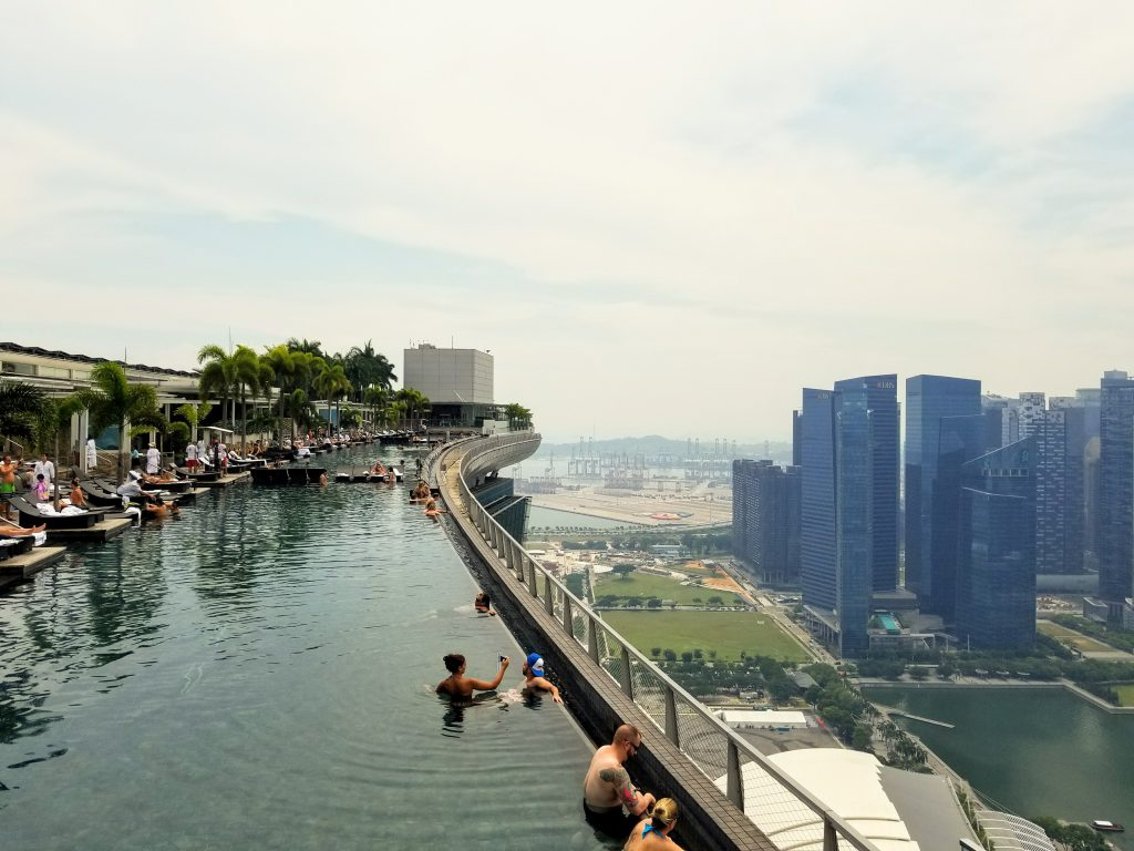 The infinity pool at the top of the Marina Bay Sands