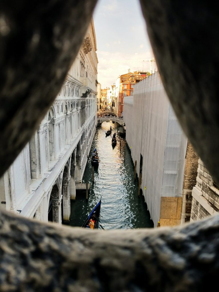 The view from the Bridge of Sighs in Venice