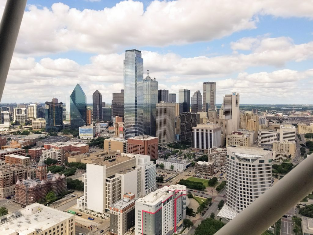 The view of Dallas from the top of Reunion Tower