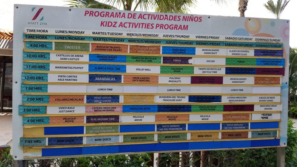 Kidz Club schedule at Hyatt Ziva Los Cabos