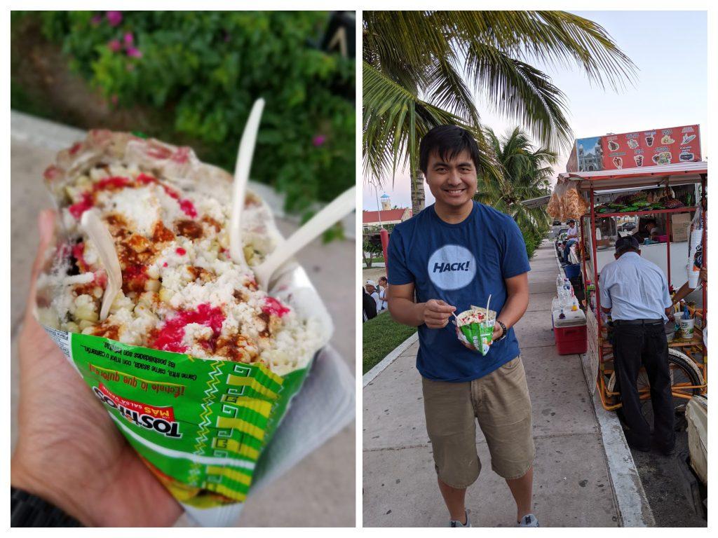 Man eating street food in Los Cabos