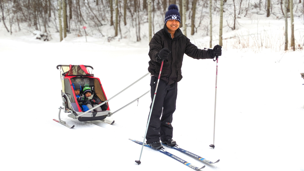 Cross-country skiing with kids