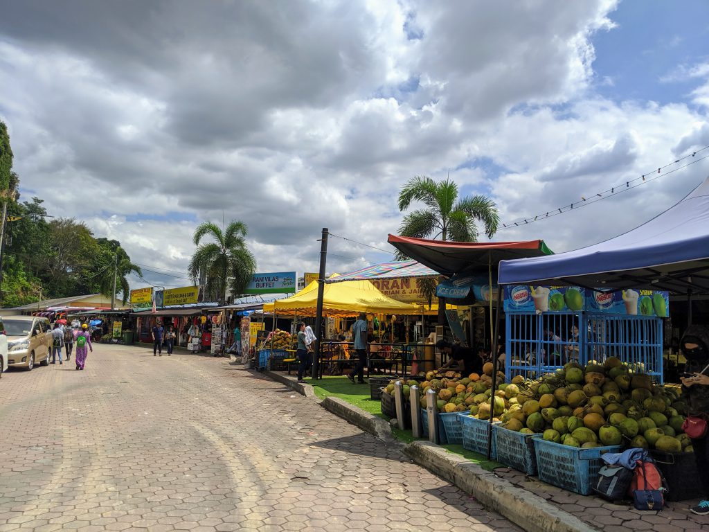 Food vendors at the base of Batu Caves in Malaysia