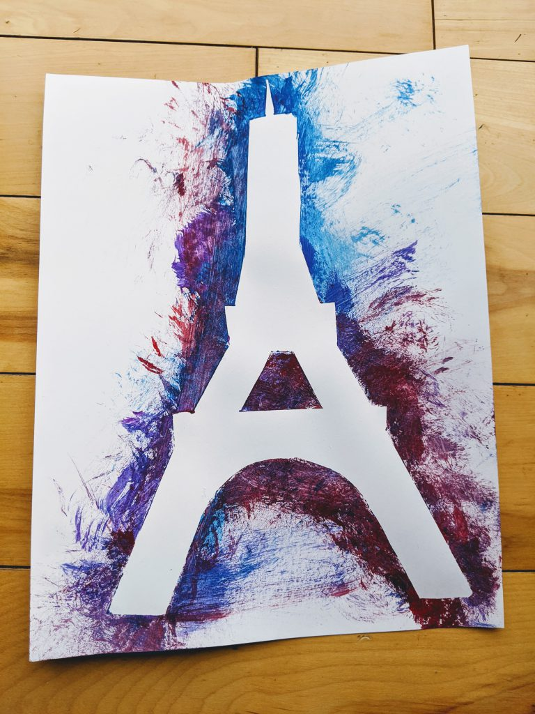 Completed Eiffel Tower tape painting craft for the France preschool unit