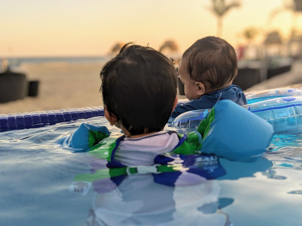 Water floaties are a beach essential for toddlers at the beach