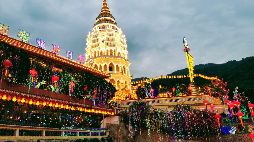Kek Lok Si Temple in Penang, Malaysia lit for Chinese New Year