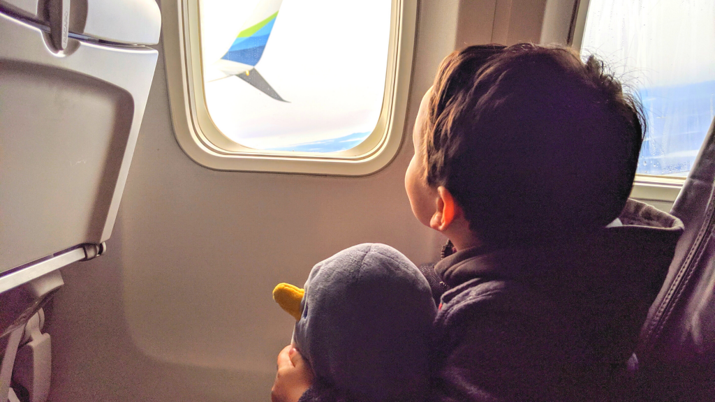 Boy looking out an airplane window