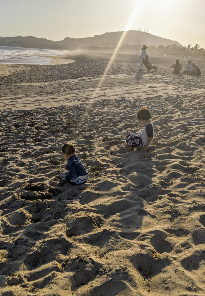 Kids playing on the beach near Hyatt Ziva Los Cabos