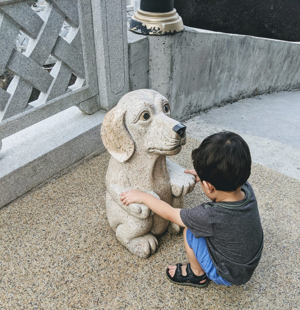 A boy with a dog statue at Kek Lok Si Temple in Penang, Malaysia