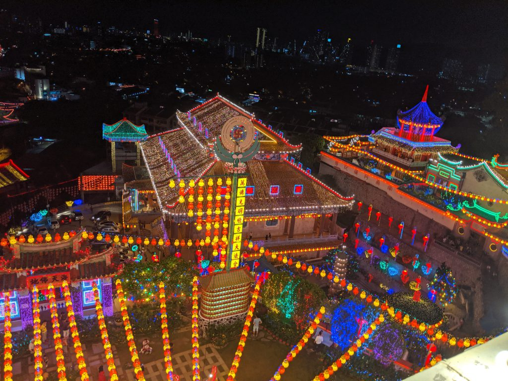 Kek Lok Si Temple in Penang, Malaysia lit up for Chinese New Year