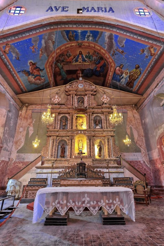 The interior of Baclayon Church in Bohol, Philippines