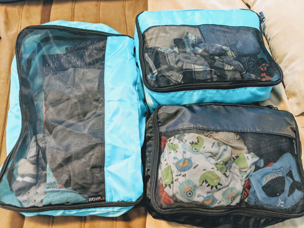 Packing cubes are great for traveling light