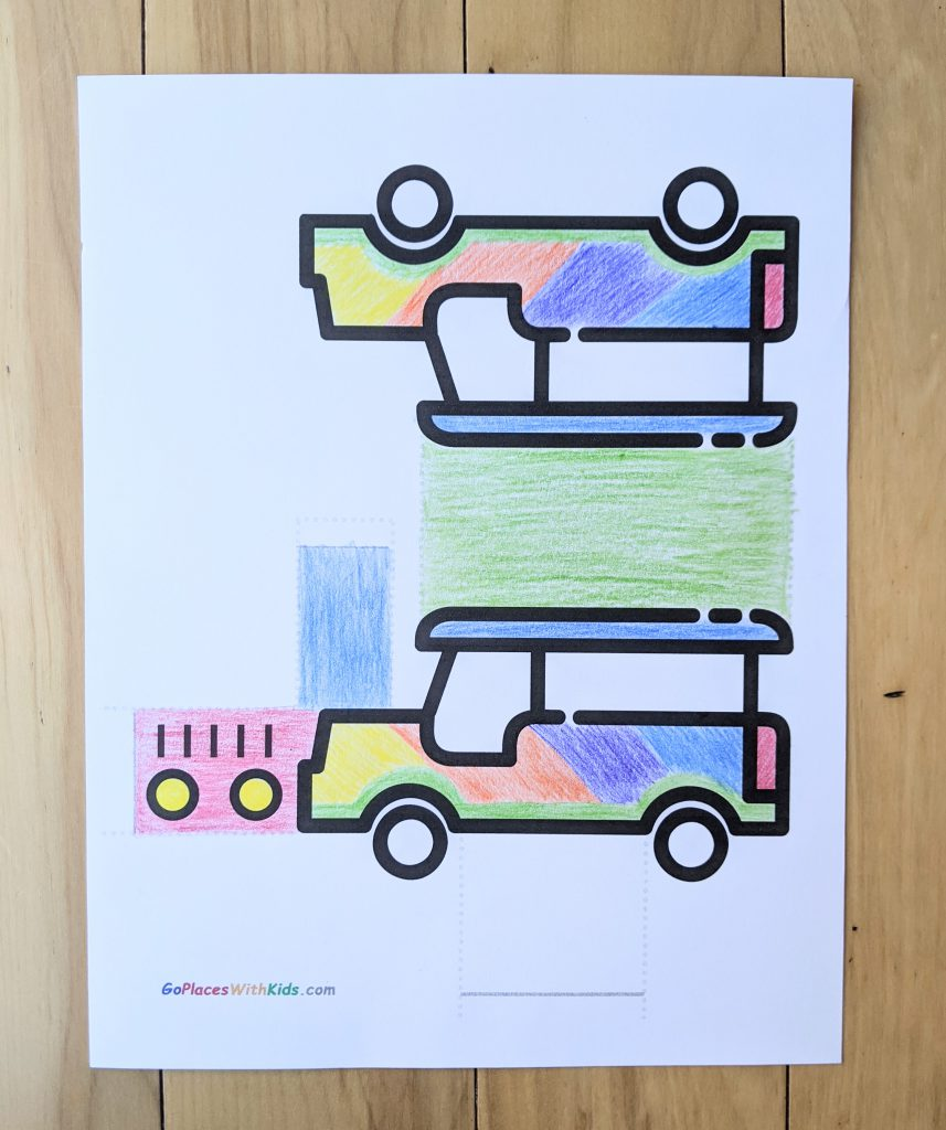Colored jeepney craft printable