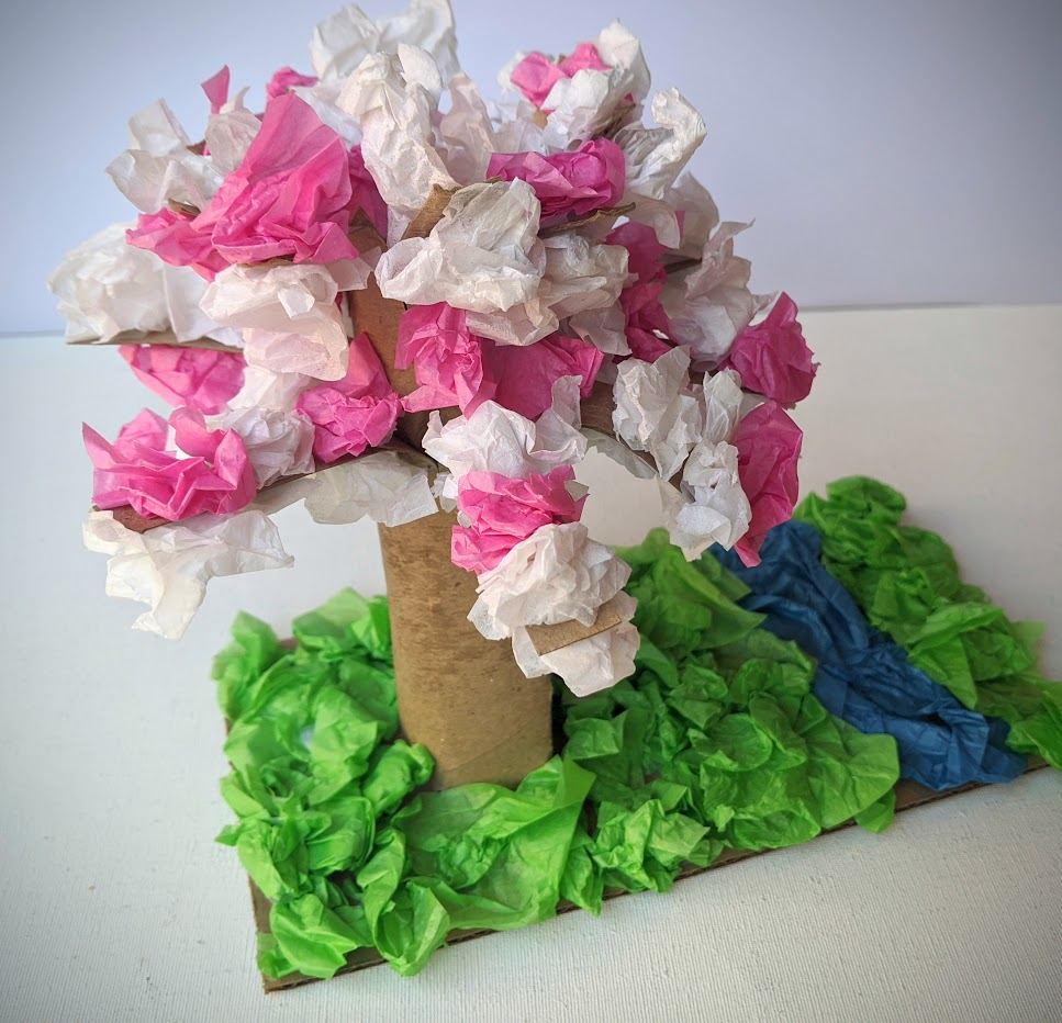 Completed cherry blossom craft