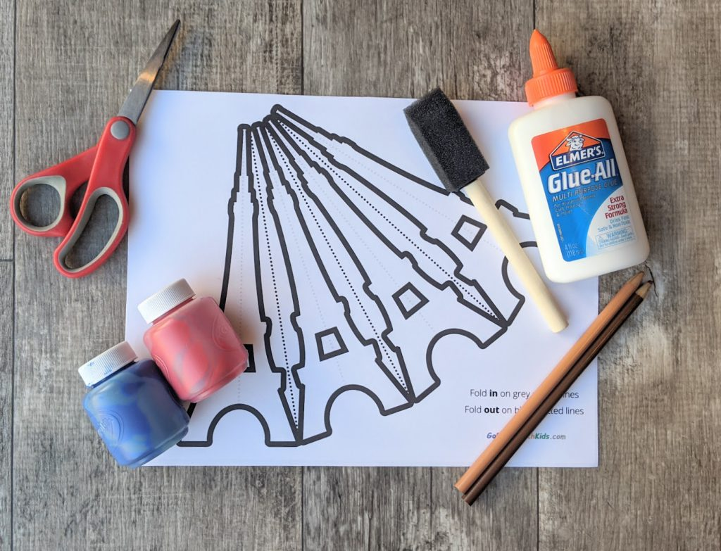 Materials to make the Eiffel Tower 3D Craft
