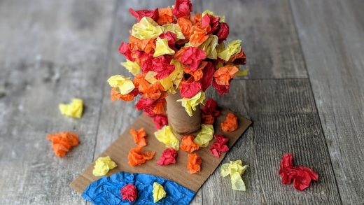 Fall leaves tissue paper craft
