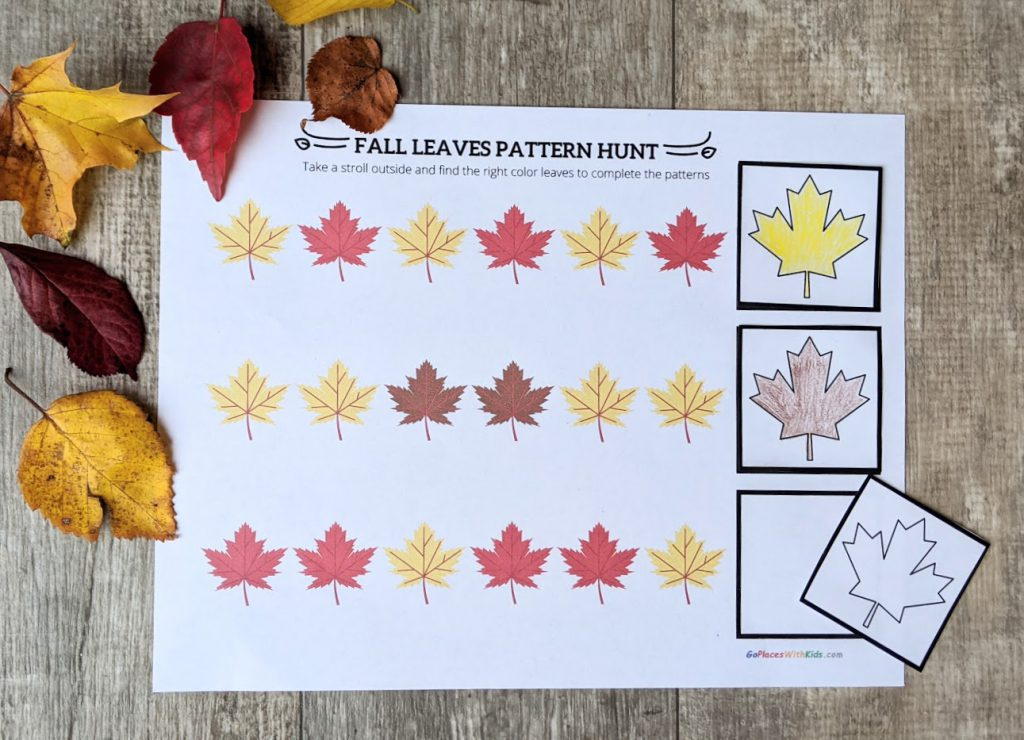 Fall leaf pattern printout filled with colored leaves