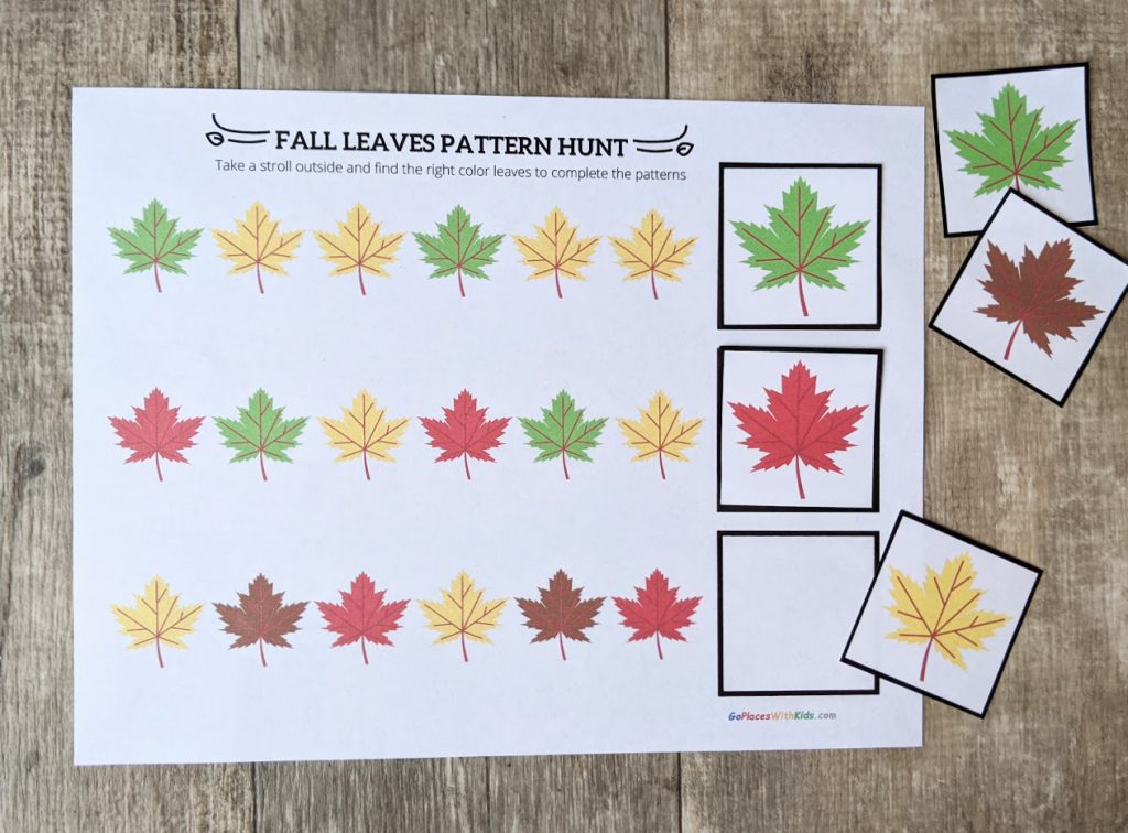 Fall leaf pattern sheet filled in with leaf printout