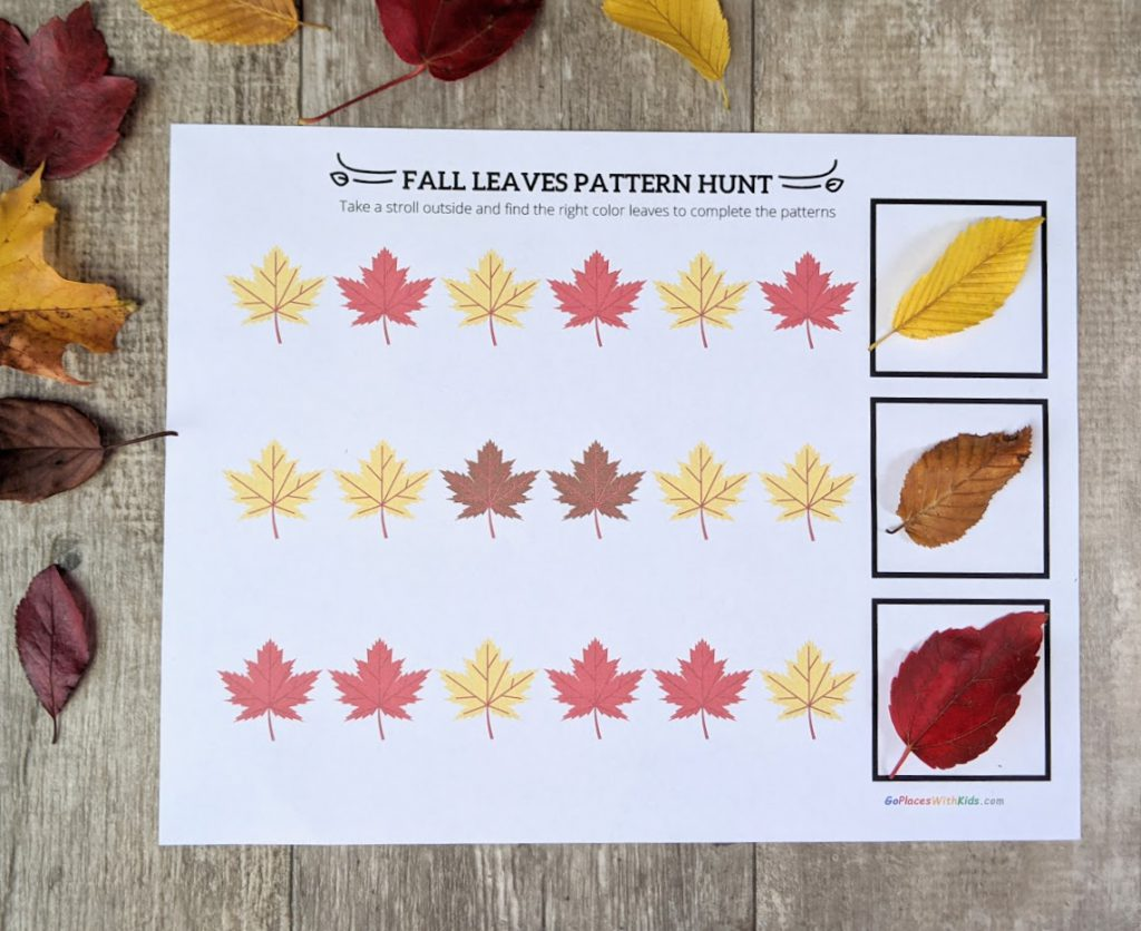 Fall leaf pattern sheet filled in with leaves
