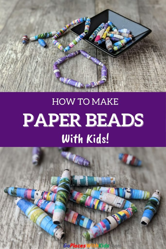 Making paper beads with kids