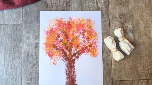 Paper towel painted fall tree
