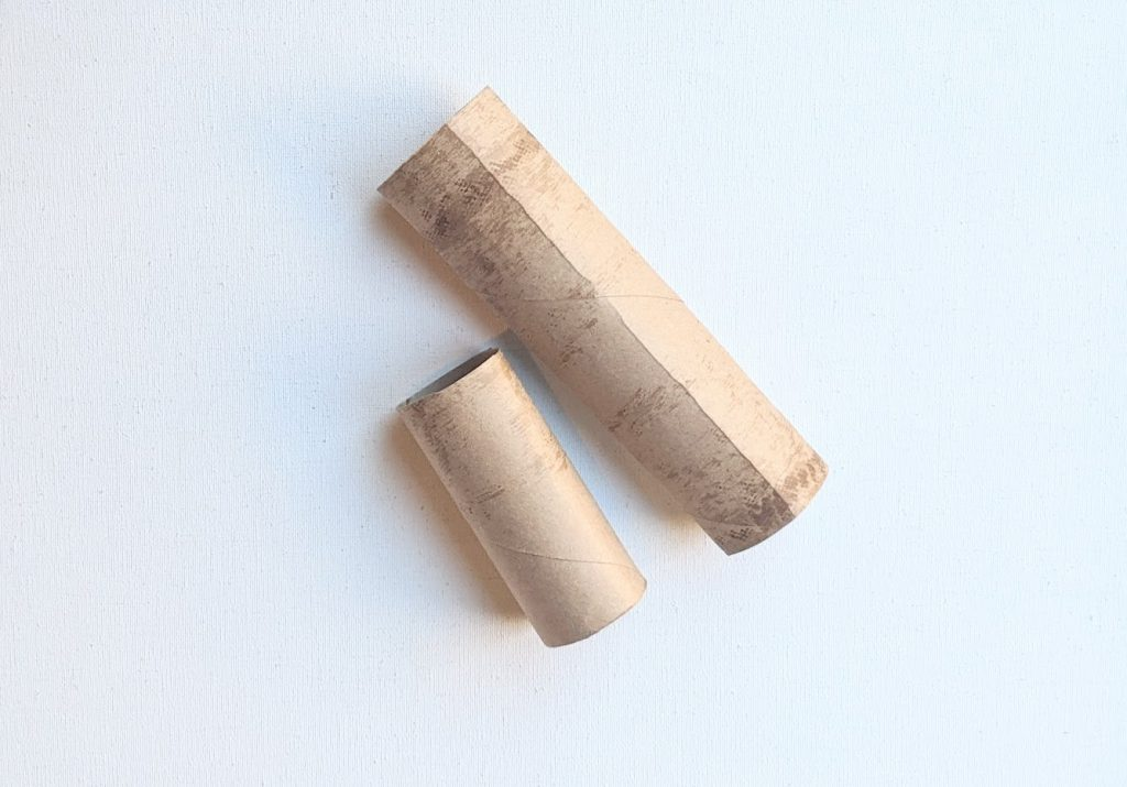 Paper towel roll cut for a cherry blossom craft