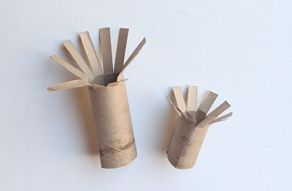 Paper towel roll pieces cut into branches of the cherry tree