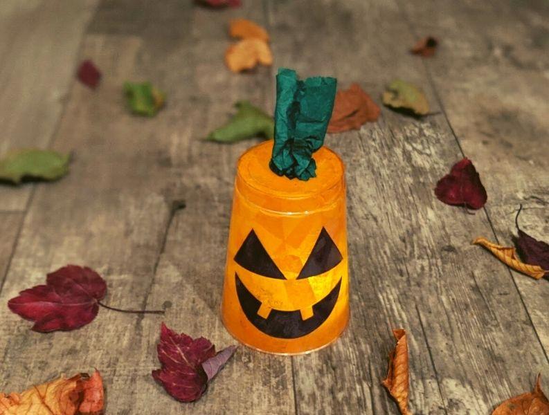 Finished jack-o'-lantern kids craft