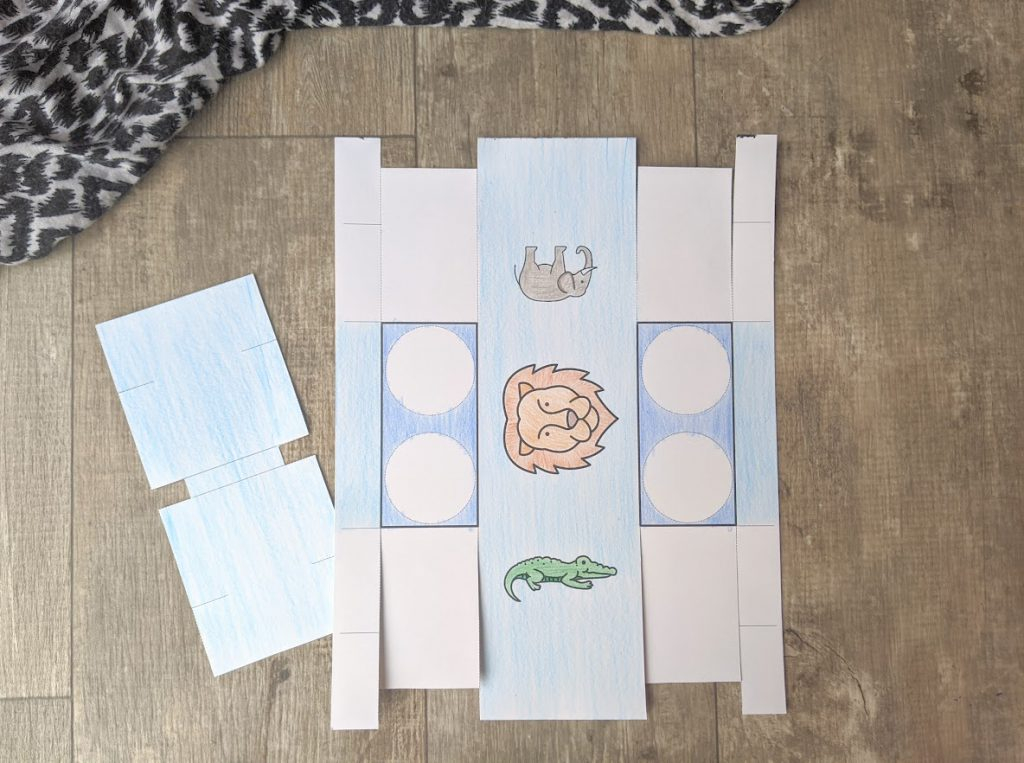Color the printable for the binoculars kids craft