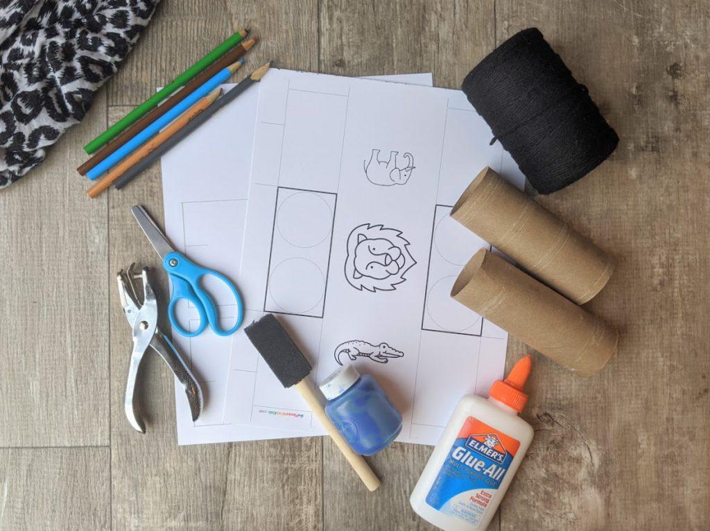 Materials to make the binoculars kids craft