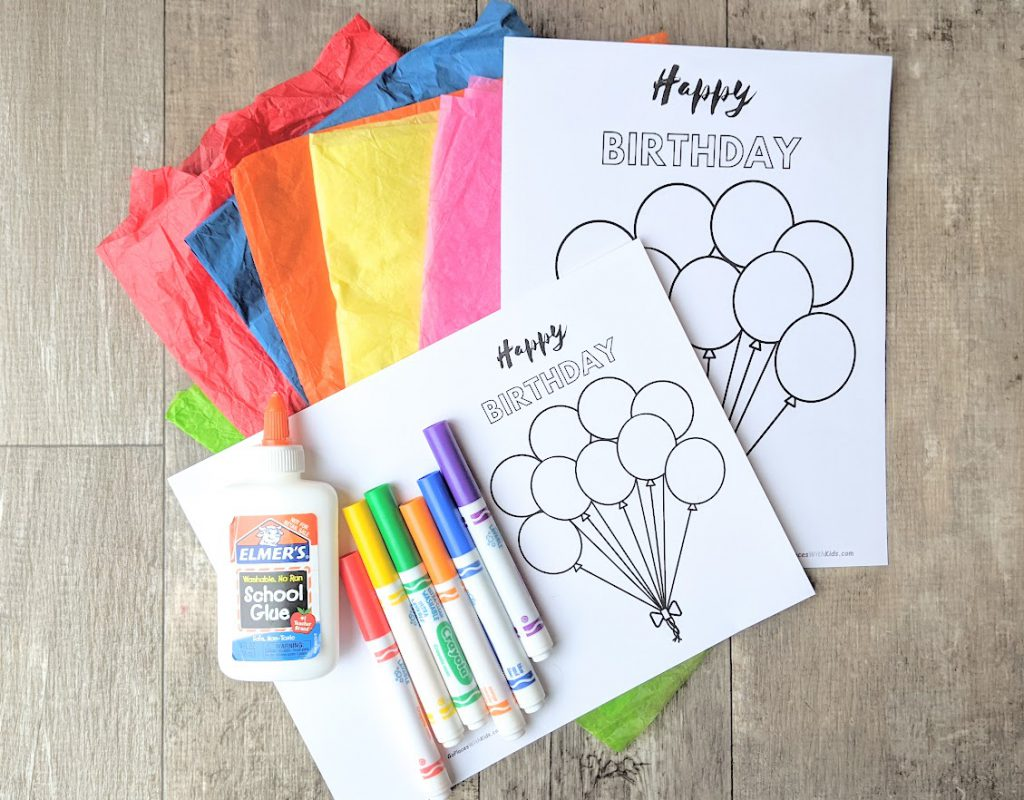 Materials for kids to make a birthday card