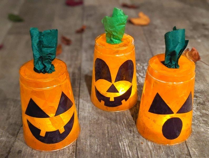 Three completed jack o'lanterns