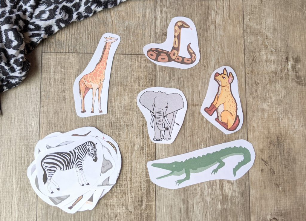 Cut out animals of for the game