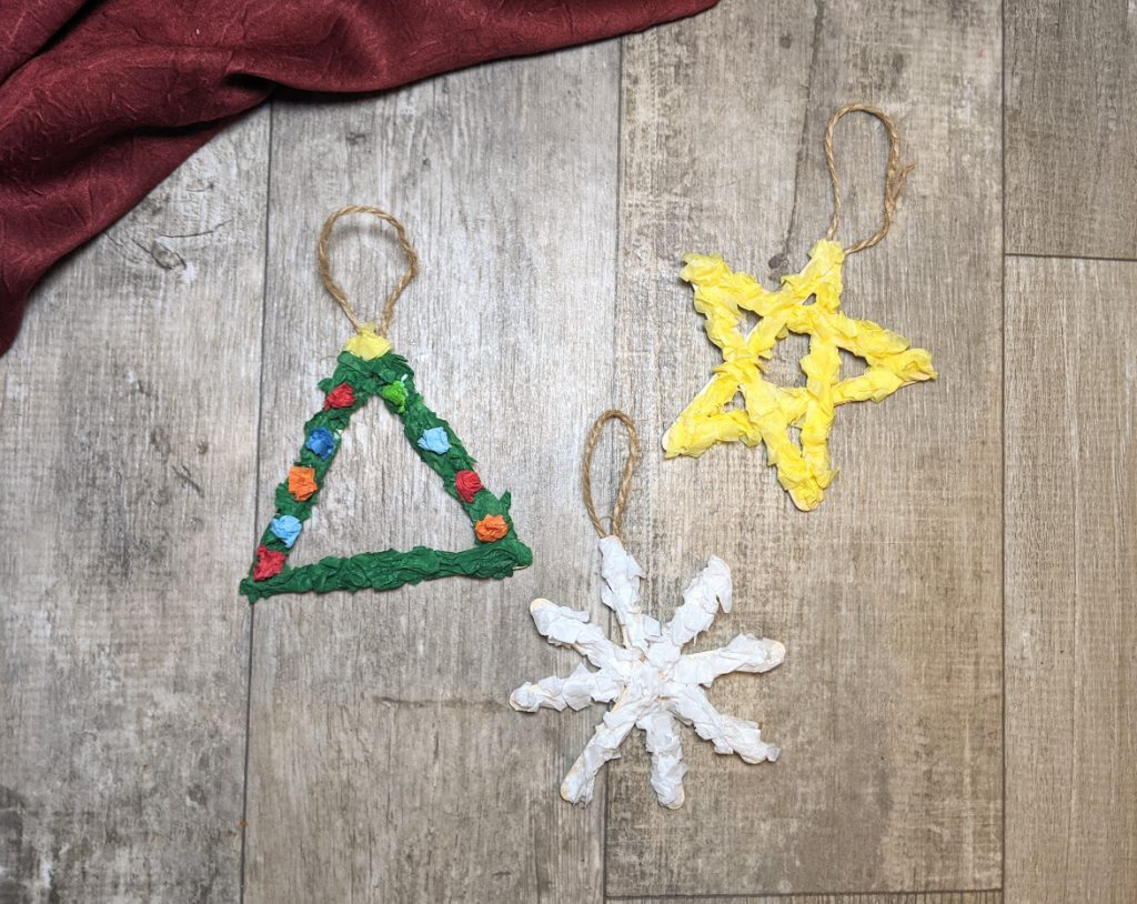 Completed Christmas kids ornaments
