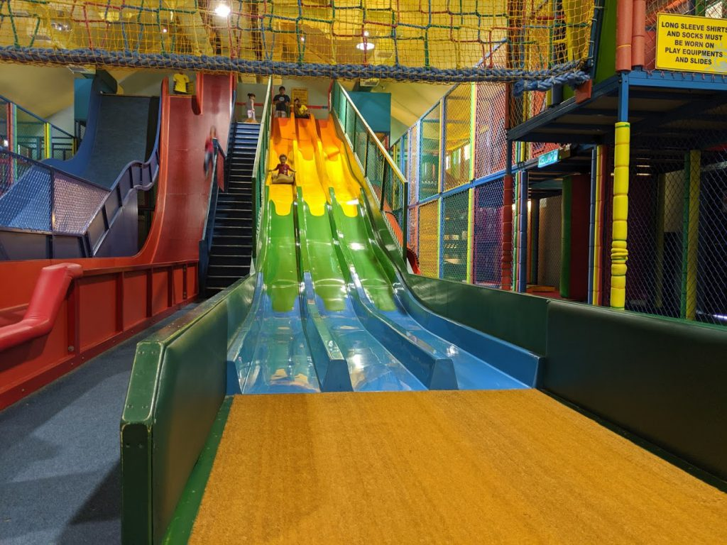The slide at Adventure Zone is a great place in Penang for kids