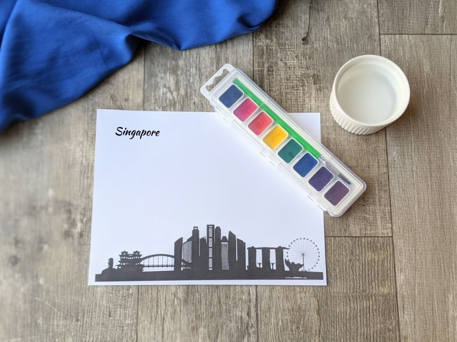 Materials for city skyline watercolor painting for preschoolers