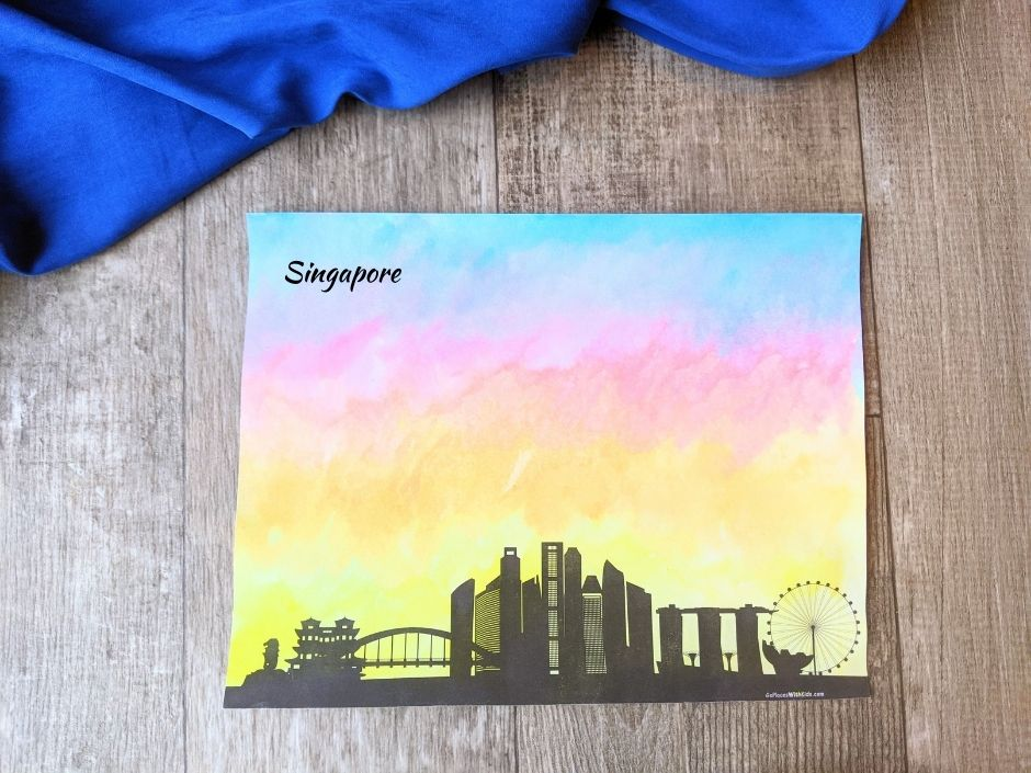 Painted city skyline watercolor painting for preschoolers