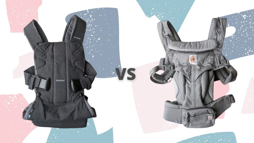 """A Baby Bjorn One carrier on the left and an Ergobaby Omni 360 carrier on the right with """"vs"""" between them"""