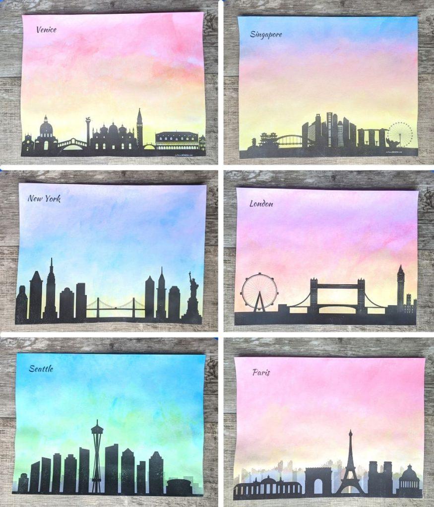 City skyline watercolor paintings