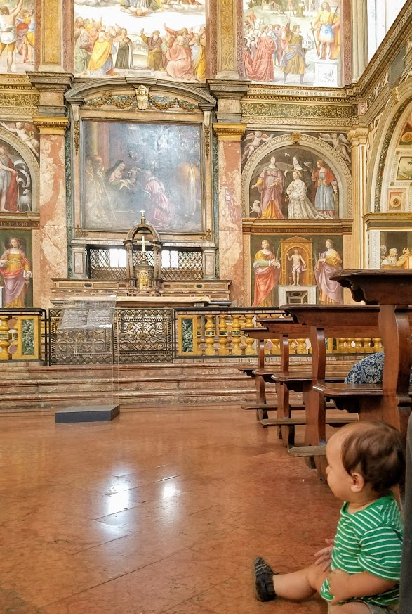 Baby in a cathedral in Italy