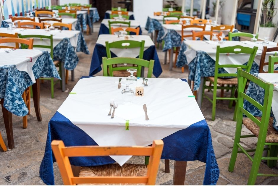 Empty restaurant in Italy