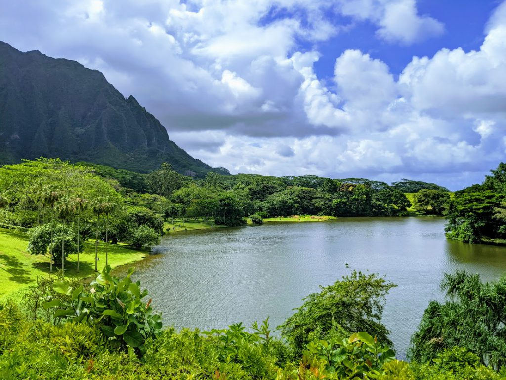 The lake at Hoʻomaluhia Botanical Garden Trails
