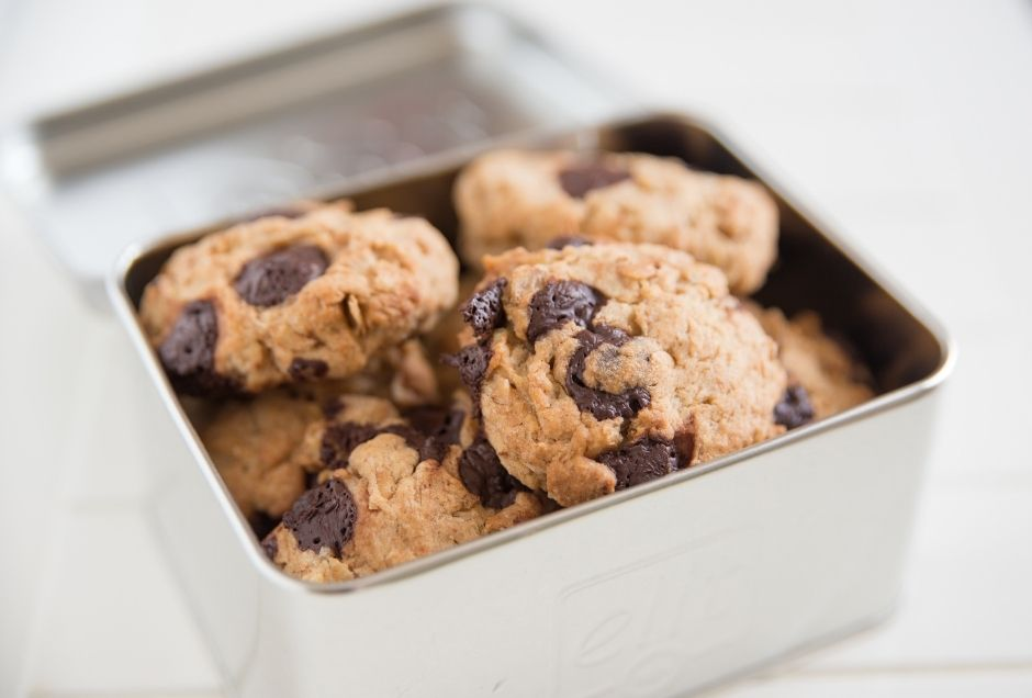 A tin of chocolate chip cookies