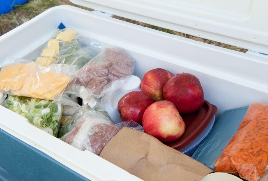 Cooler of road trip food