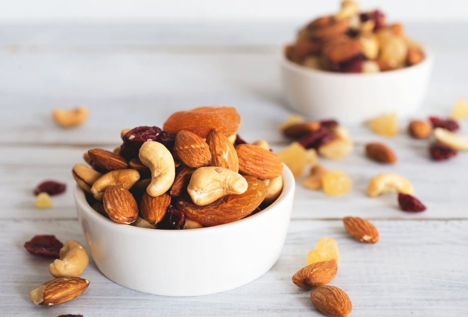 Two bowls of mixed nuts