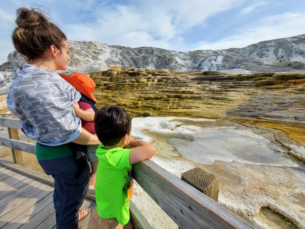 Family at Mammoth Hot Springs- Yellowstone with kids