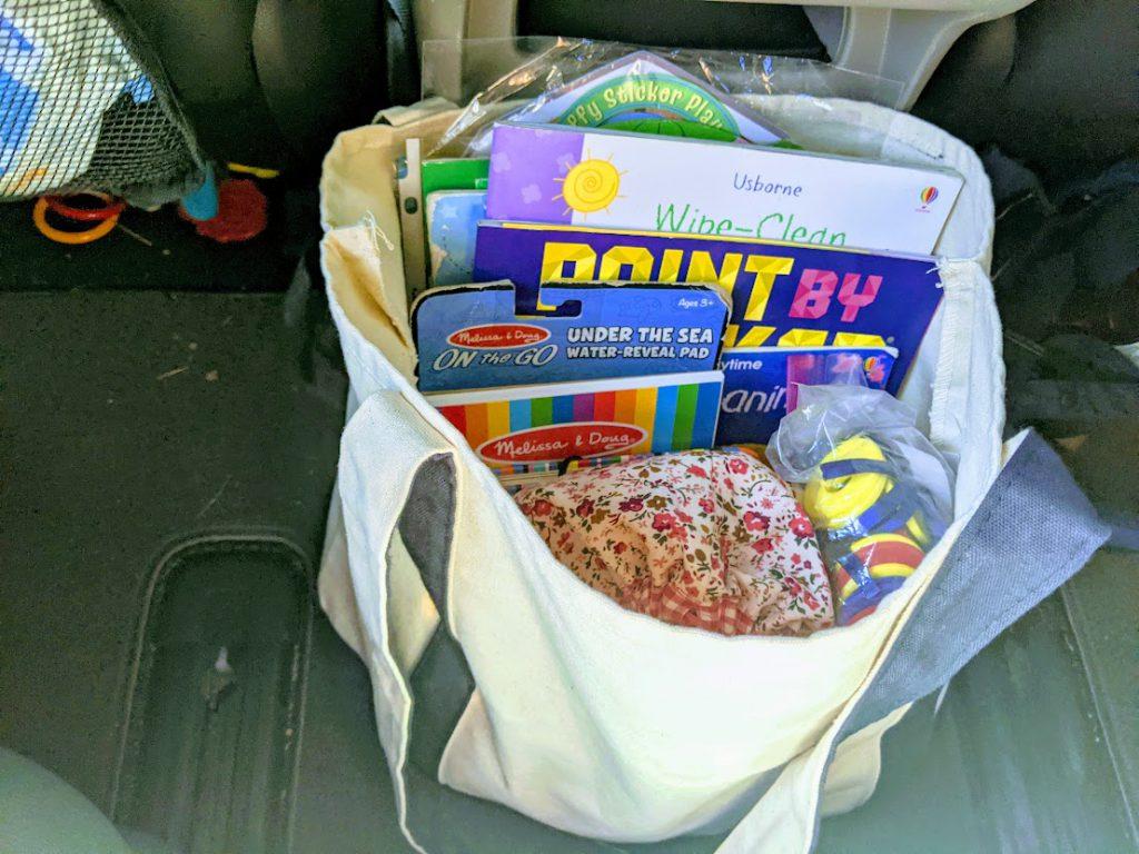Bag of toddler road trip activities