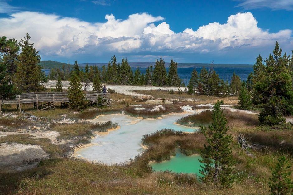 West Thumb Geyser Basin overlooking Yellowstone Lake