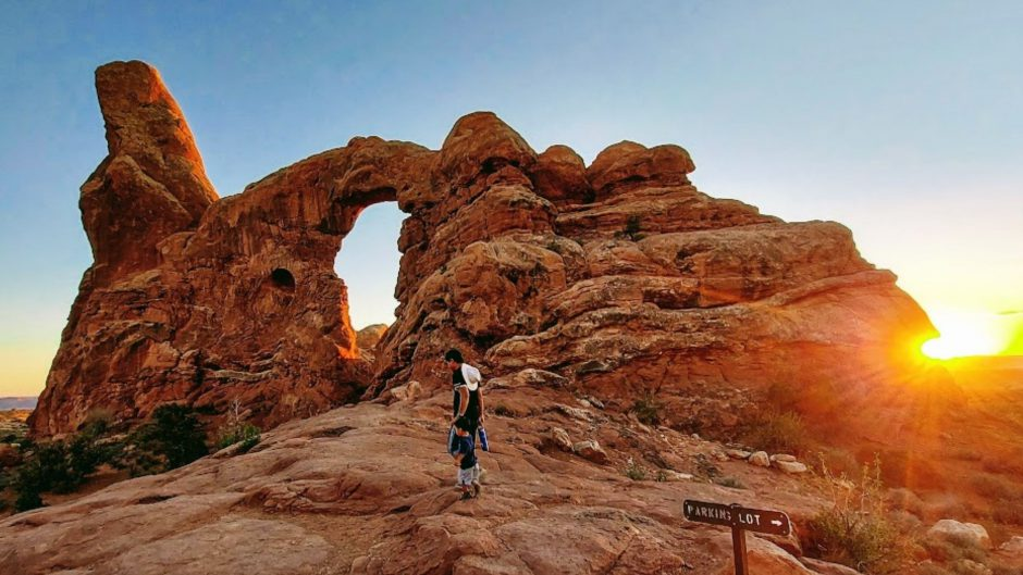 Family at Turret Arch- Arches National Park with Kids